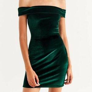 Urban Outfitter Velvet Green Mini Dress